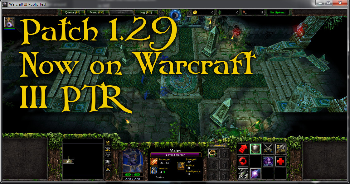 Warcraft III on PTR has been updated to 1.29
